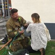 dog rescued from fire