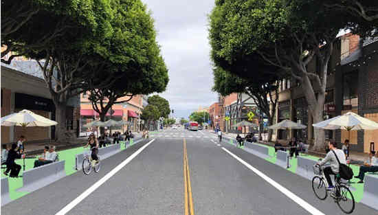 Rendering of temporary redesign for Main Street
